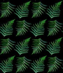 fern watercolor seamless pattern on black