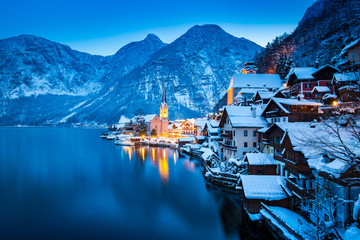 Hallstatt at twilight in winter, Salzkammergut, Austria