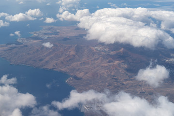 Aerial view of the coast, Lanzarote, Canary Islands, Spain