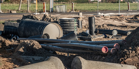 pipes in construction site