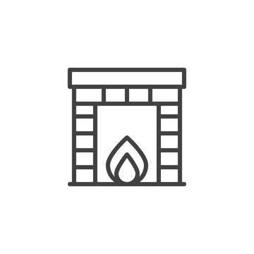 Classic fireplace outline icon. linear style sign for mobile concept and web design. Burning fireplace simple line vector icon. Symbol, logo illustration. Pixel perfect vector graphics