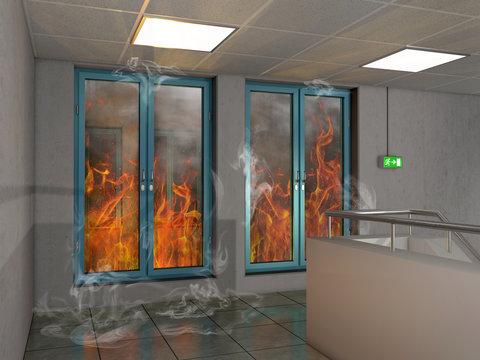 Brandschutzfenstern durch die man Feuer sieht