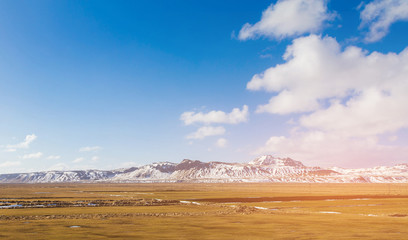 Iceland mountain in with snow covered with blue sky background, natural landscape