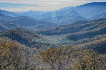"""I Can See for Miles and Miles"" Looking into the Sun at the Blue Ridge Mountains on a Warm Fall Afternoon from the Blue ridge Parkway Zen Duder Blue Ridge Mountains Series"