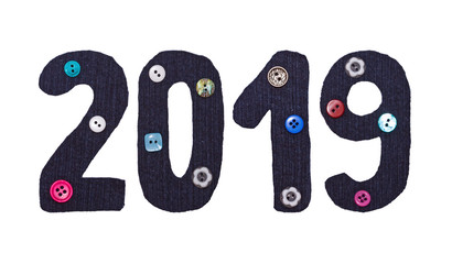 The Christmas, New Year from fabric and button form of inscriptions, 2019 numbers, isolated on white.