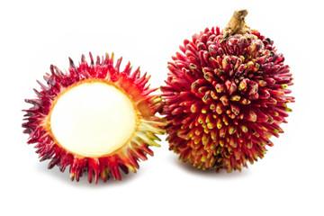 Pulasan, Nephelium mutabile or Nephelium ramboutan-ake isolate on white background : fruit in asia tropical country