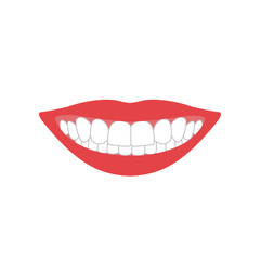 mouth with teeth color silhouette on white background