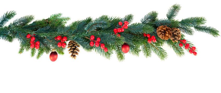 Christmas garland on isolated white background
