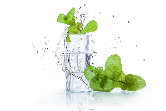 ice cubes and splashing water with mint on a white background