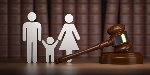 Familty law. Gavel and shapes of men, women and child with books.