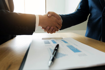 Business handshake. Business people shaking hands, finishing up a meeting,Success agreement negotiation.