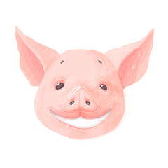 Adorable pig character smiles. Cute little piglet face isolated on white background. Pig emotion collection. Vector hand draw illustration.
