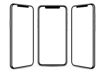 Black frameless smartphone with a blank screen on a gray background, from three angles, in high detail Wall mural