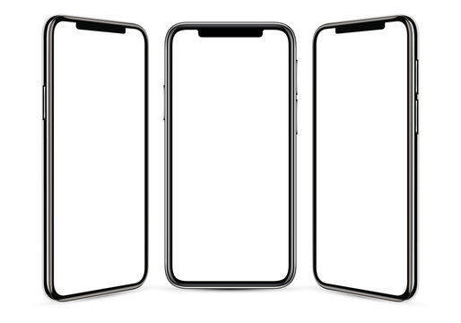Black frameless smartphone with a blank screen on a gray background, from three angles, in high detail