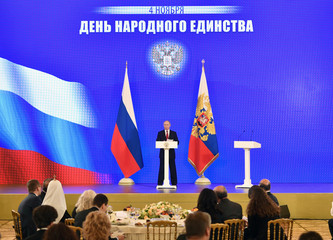 Russia's President Vladimir Putin delivers a speech during a reception, as a part of celebrations marking the National Unity Day, in Moscow