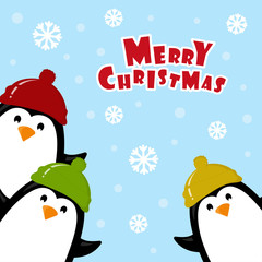 Christmas card with penguin