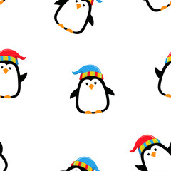 winter pattern with penguin