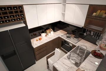 3d render of kitchen