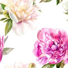 Peony flowers watercolor seamless pattern. Romantic flower pattern.