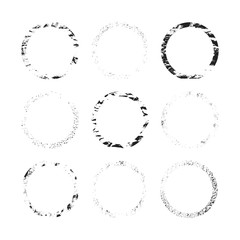 Rough grunge Japanese round frames set. Ink torn circle. Vector isolated illustration.