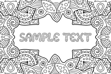 Coloring book page with copy space and text