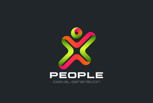 Man as Letter X Logo design Sport Fitness Gym club vector icon