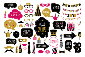 Happy new year 2019 photo booth props photobooth
