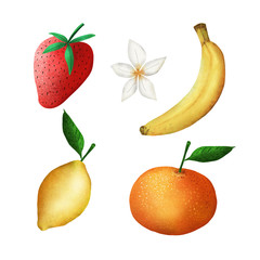 set of berries and fruits on a white background. strawberry, banana, lemon, mandarin