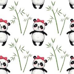 cute panda bear with bamboo leaves on white background pattern, seamless pattern