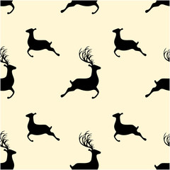 Seamless vintage pattern vector of Christmas silhouette reindeer isolated on light yellow background.