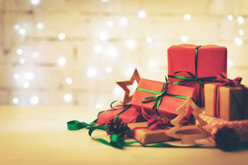 christmas gifts and decoration on the table with copy space