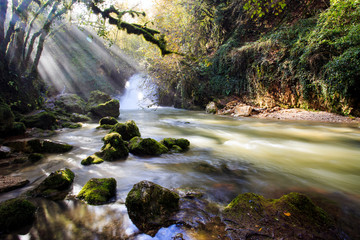 waterfalls of Trevi nel lazio. a Creek in the Woods in autumn