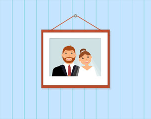 Happy smiling family portrait: groom and bride on the light blue background picture on the wall. Wedding card with the newlyweds. Loving couple. Just married. Vector illustration