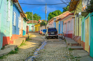 Papiers peints La Havane city view, street in the city of Trinidat, Cuban Province