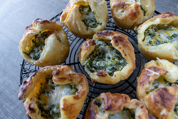 Baked spinage and cheese filled puff pastry shells