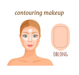 Contouring guide for oblong face. Vector illustration. Makeup applying rules. Darkening and lightening of parts of the face.
