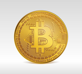 Bitcoin symbol. Digital currency under the supervision of the computer network. One bitcoin. Btc. Concept of digital business currency and mining. Face of the crypto currency. Bitcoin cryptocurrency