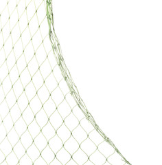 Fishing net on white background, closeup view