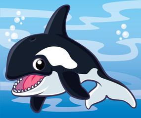 Killer whale cartoon, cartoon cute, animail cute