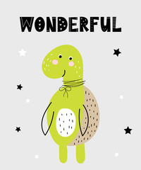 Vector poster with cartoon cute turtle for kids and funny slogan in scandinavian style
