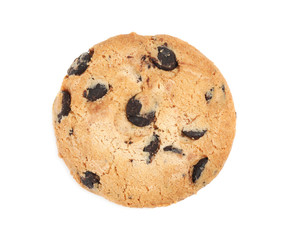 Delicious chocolate chip cookie on white background, top view