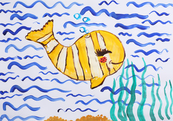 Colorful children painting of beautiful fish on white background