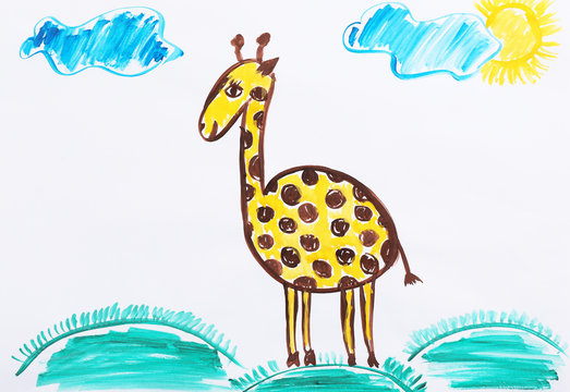 Colorful children painting of beautiful giraffe on white background