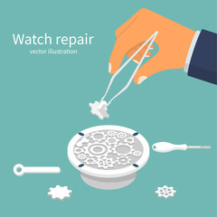 Watch repair. Installing part in a broken clockwork. Vector illustration flat design. Isolated on white background. Tweezers with gear in the hands of the master. Watchmaker craft profession.