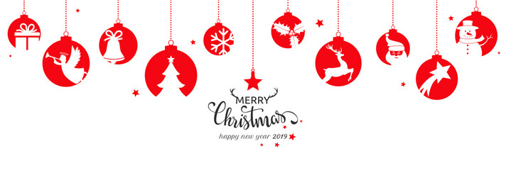 Christmas card 2019 with hanging balls
