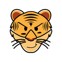 flat vector type of animal tigers face expression, vector illustration