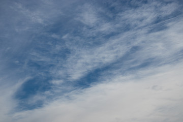 white cirrus clouds in the blue sky