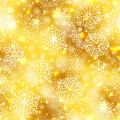 Snowflakes pattern. Seamless pattern with fluffy white snowflakes on golden background.