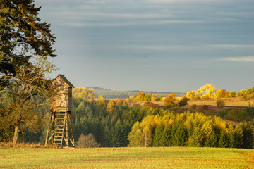 hunting tower at the edge of the forest in autumn scenery