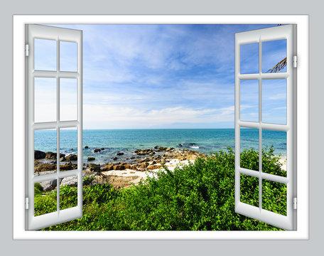 sea view open window